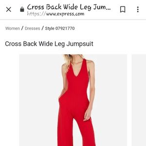 Red romper pant suit with crisscross back(small)